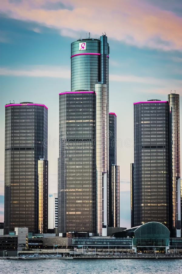 General Motors World Headquarters at the Renaissance Center. royalty free stock images