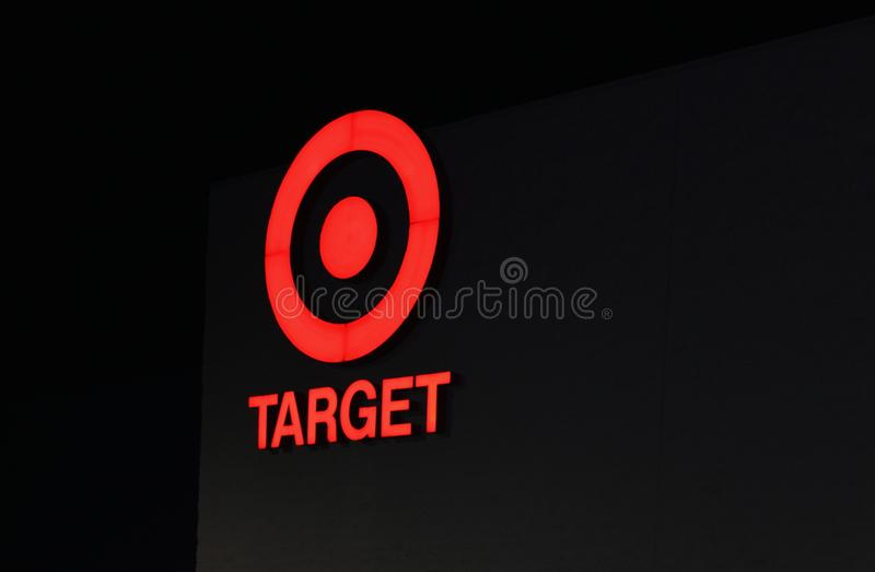 Close up image at night of the iconic Target Discount Store Sign. stock photos
