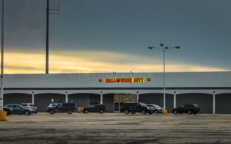 Halloween City Store. Detroit, MI, USA - 1 October 2016: Halloween City Store, an American Halloween Costumes superstore royalty free stock image