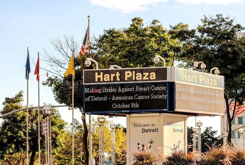 A sign welcomes visitors to Detroit at Hart Plaza. Detroit, MI, USA - 2 October 2016: A sign welcomes visitors to Detroit at Hart Plaza. Hart Plaza has been a stock photos
