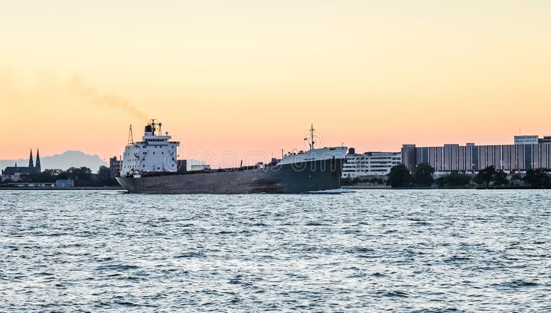 The TECUMSEH Bulk Carrier ship on the Detroit River royalty free stock photo