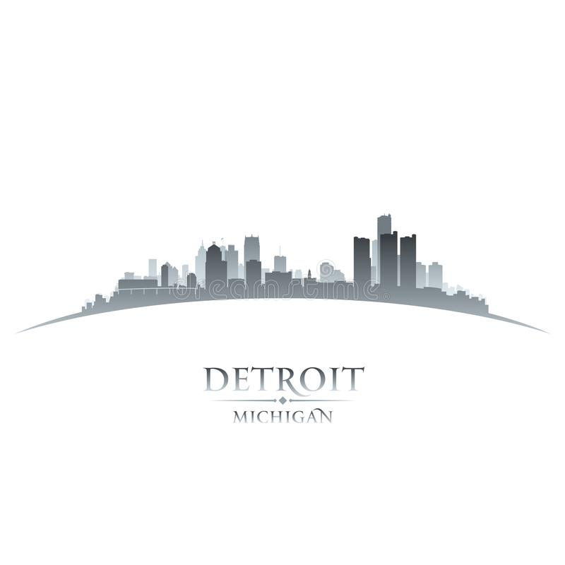Detroit Michigan city skyline silhouette white background royalty free illustration