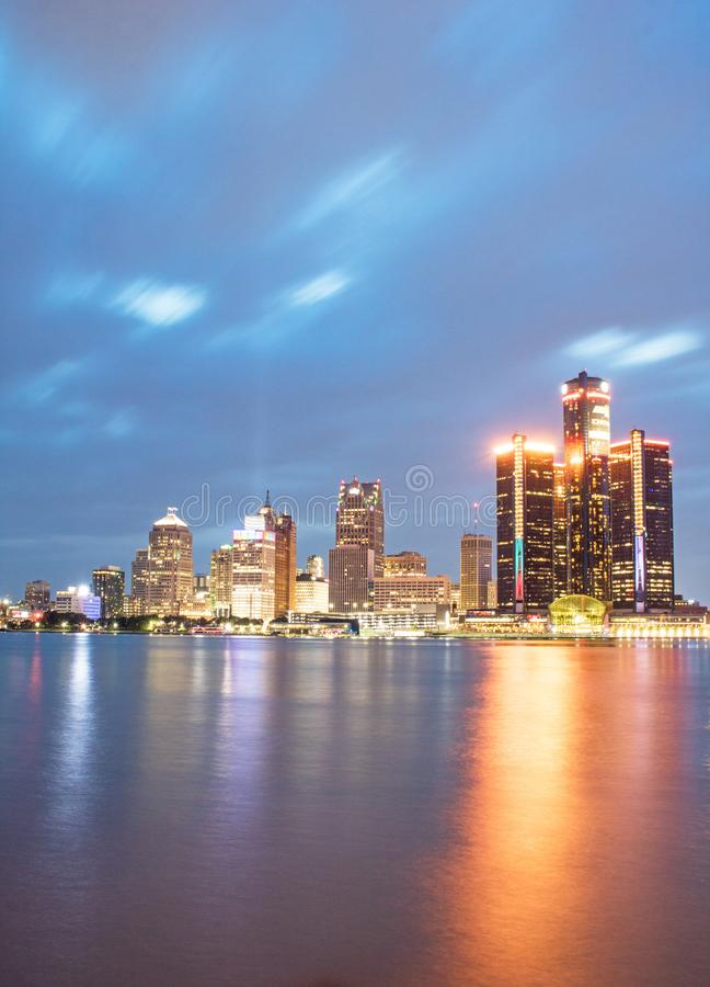 Detroit, Michigan Downtown Skyline Long Exposure royalty free stock images