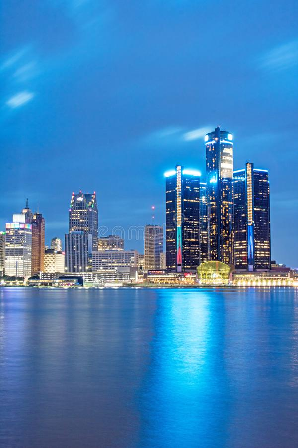 Detroit, Michigan Downtown Skyline And Renaissance Center At Blue Hour stock photography