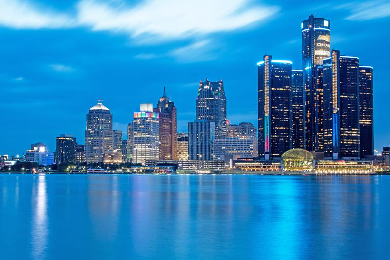 Detroit, Michigan Downtown Skyline And Riverfront At Blue Hour royalty free stock photos