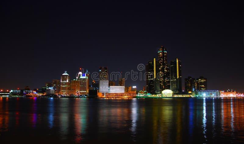 Detroit, Michigan en la noche foto de archivo libre de regalías