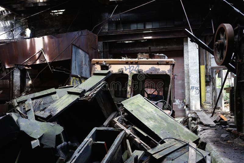 Detroit Michigan, Förenta staterna - Oktober 18 2018: Sikt av den övergav Gray Iron Factory i Detroit Detroit grå färger royaltyfri foto