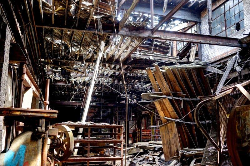 Detroit Michigan, Förenta staterna - Oktober 18 2018: Sikt av den övergav Gray Iron Factory i Detroit Detroit grå färger arkivbilder
