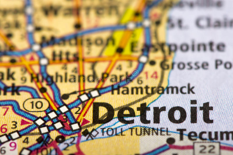 Detroit, Michigan on map stock images