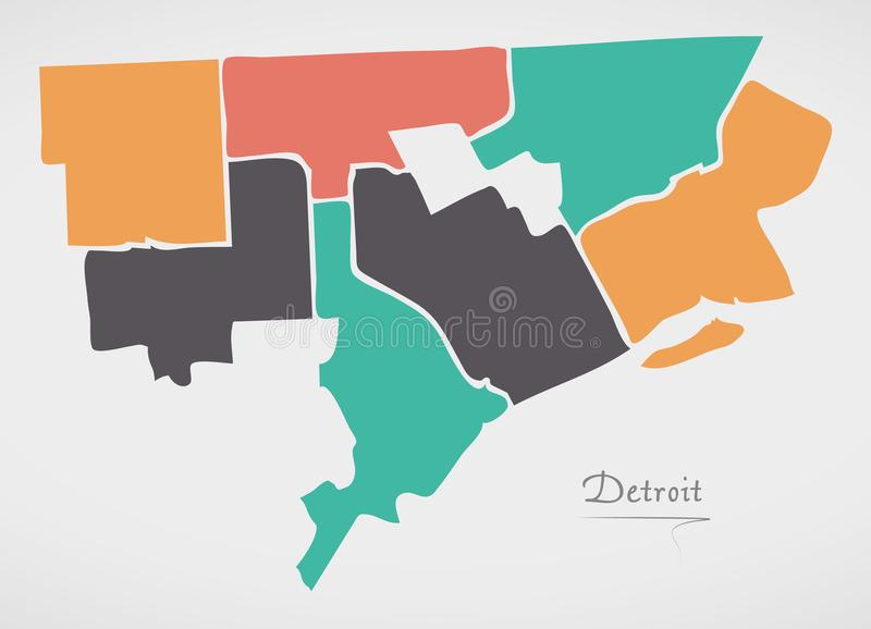 Detroit Michigan Map with neighborhoods and modern round shapes. Illustration royalty free illustration