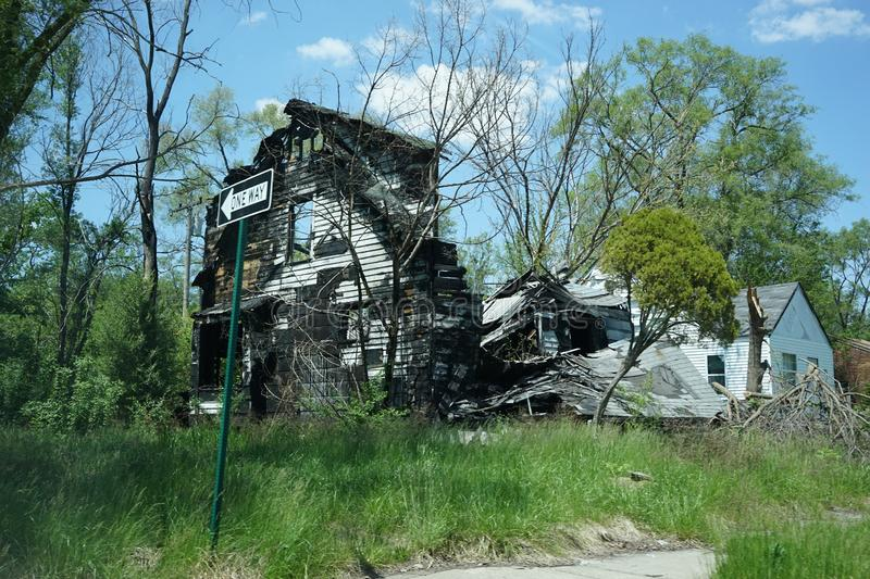 Detroit, Michigan, May, 2018: Abandoned and damaged single family home near downtown Detroit. Photo taken in the USA stock photography