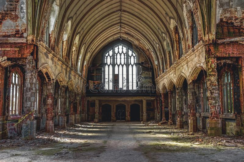Detroit, Michigan, May 18, 2018: Interior view of abandoned and damaged Church St. Agnes in Detroit. stock photography