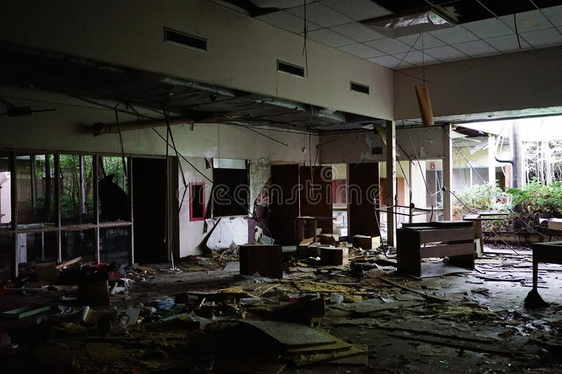 Detroit, Michigan, May 18, 2018: Interior view of abandoned and damaged George Ferris School in Detroit. Like other royalty free stock image