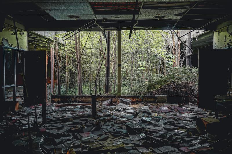 Detroit, Michigan, May 18, 2018: Interior view of abandoned and damaged George Ferris School in Detroit. Like other stock photo