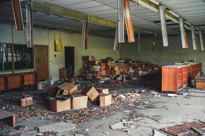 Detroit, Michigan, May 18, 2018: Interior view of abandoned and damaged George Ferris School in Detroit. Like other royalty free stock photo