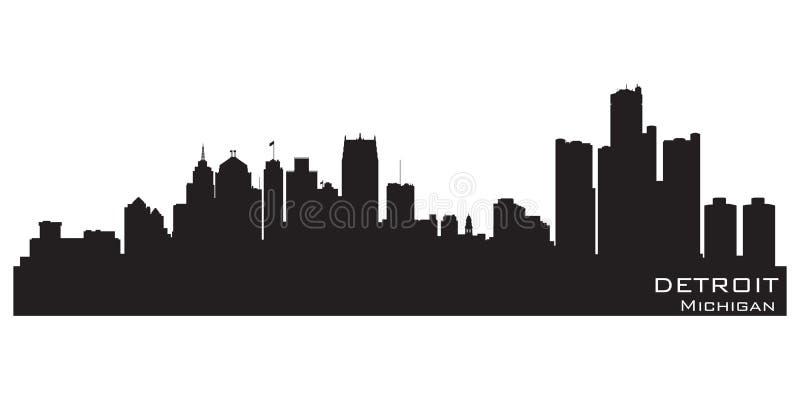 Detroit Michigan miasta linia horyzontu Szczegółowa wektorowa sylwetka ilustracji
