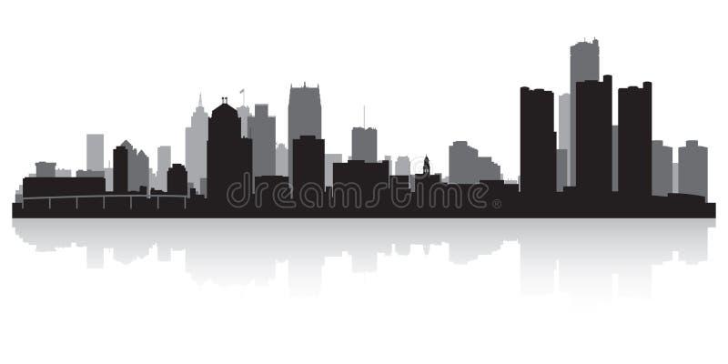 Detroit Michigan miasta linii horyzontu sylwetka royalty ilustracja