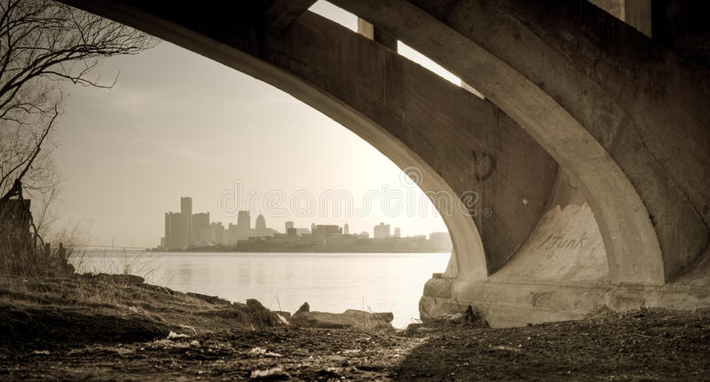 Detroit Michigan Skyline Belle Isle Bridge View royalty free stock image