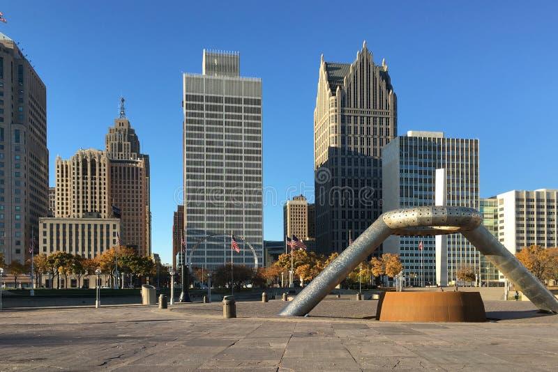 The Detroit, Michigan Skyline royalty free stock photos