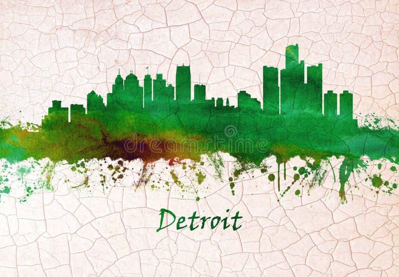 Detroit Michigan skyline royalty free illustration
