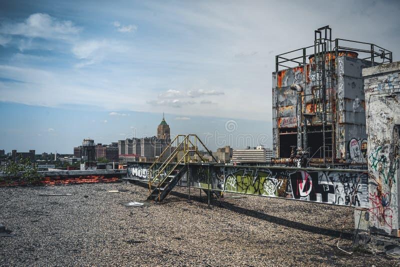 Detroit, Michigan, Stati Uniti - 18 ottobre 2018: Punto di vista di Fisher Body Plant abbandonato a Detroit Fisher Body immagine stock