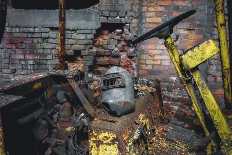 Detroit, Michigan, Stati Uniti - 18 ottobre 2018: Punto di vista di Gray Iron Factory abbandonato a Detroit Detroit grigia fotografia stock libera da diritti