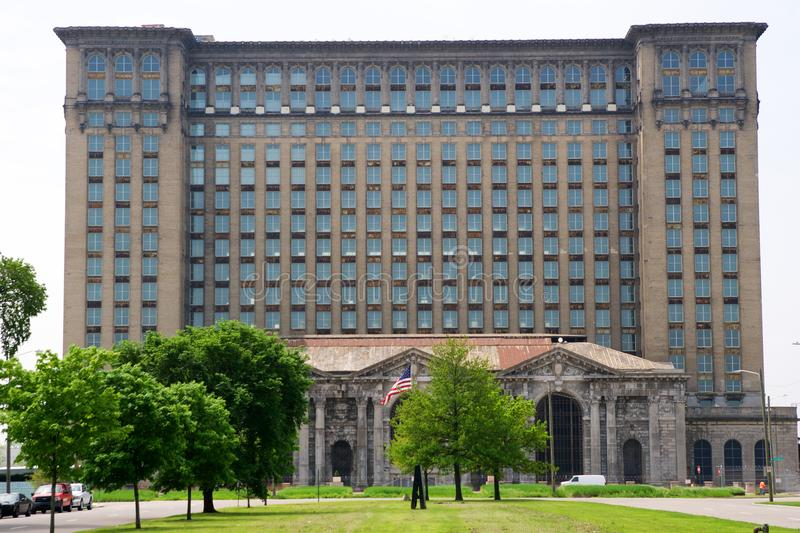 DETROIT, MICHIGAN, UNITED STATES - MAY 5th 2018: A view of the old Michigan Central Station building in Detroit which stock images