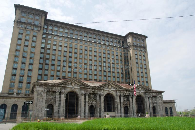 DETROIT, MICHIGAN, UNITED STATES - MAY 5th 2018: A view of the old Michigan Central Station building in Detroit which stock photos