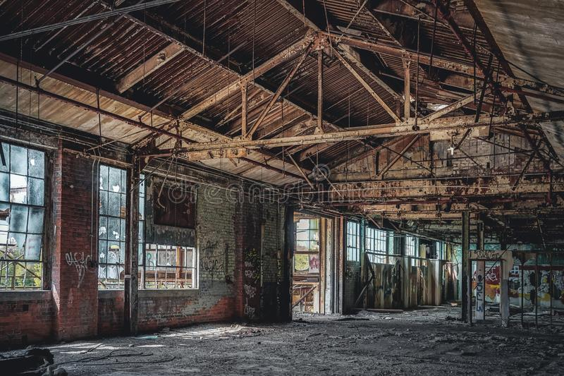 Detroit, Michigan, United States - October 18 2018: View of the abandoned Fisher Body Plant in Detroit. The Fisher Body. Plant sprawls multiple city blocks and royalty free stock photos