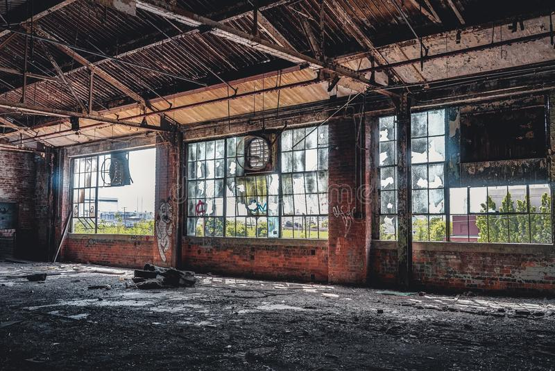 Detroit, Michigan, United States - October 18 2018: View of the abandoned Fisher Body Plant in Detroit. The Fisher Body. Plant sprawls multiple city blocks and royalty free stock image