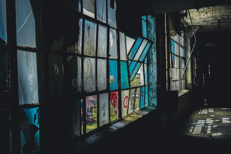 Detroit, Michigan, United States - October 18 2018: View of the abandoned Fisher Body Plant in Detroit. The Fisher Body. Plant sprawls multiple city blocks and royalty free stock photo