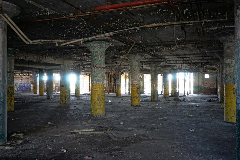 Detroit, Michigan, United States - October 18 2018: View of the abandoned Fisher Body Plant in Detroit. The Fisher Body. Plant sprawls multiple city blocks and stock photo