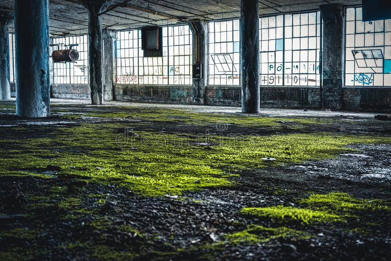Detroit, Michigan, United States - October 18 2018: View of the abandoned Fisher Body Plant in Detroit. The Fisher Body. Plant sprawls multiple city blocks and royalty free stock photography