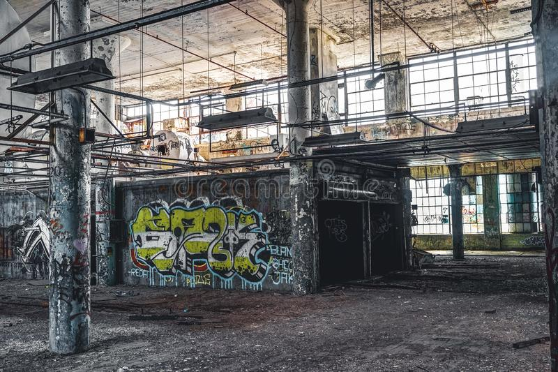 Detroit, Michigan, United States - October 18 2018: View of the abandoned Fisher Body Plant in Detroit. The Fisher Body royalty free stock photos