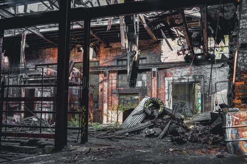 Detroit, Michigan, United States - October 18 2018: View of the abandoned Gray Iron Factory in Detroit. Detroit Gray. Iron Foundry was one of several foundry royalty free stock images