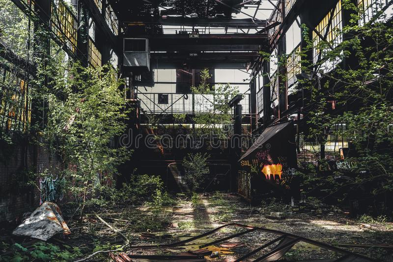 Detroit, Michigan, United States - October 18 2018: View of the abandoned Gray Iron Factory in Detroit. Detroit Gray. Iron Foundry was one of several foundry royalty free stock photos