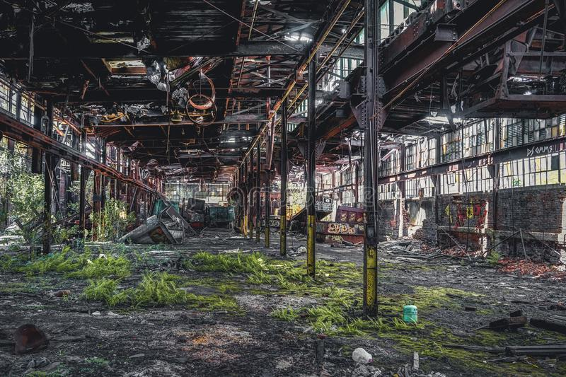 Detroit, Michigan, United States - October 18 2018: View of the abandoned Gray Iron Factory in Detroit. Detroit Gray. Iron Foundry was one of several foundry stock images