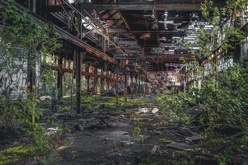 Detroit, Michigan, United States - October 18 2018: View of the abandoned Gray Iron Factory in Detroit. Detroit Gray. Iron Foundry was one of several foundry stock image