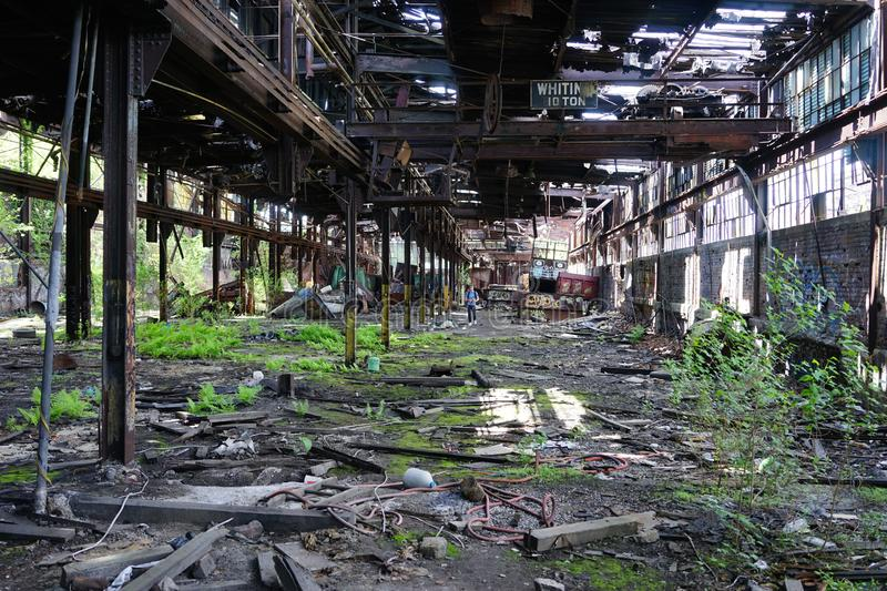 Detroit, Michigan, United States - October 18 2018: View of the abandoned Gray Iron Factory in Detroit. Detroit Gray. Iron Foundry was one of several foundry stock photography