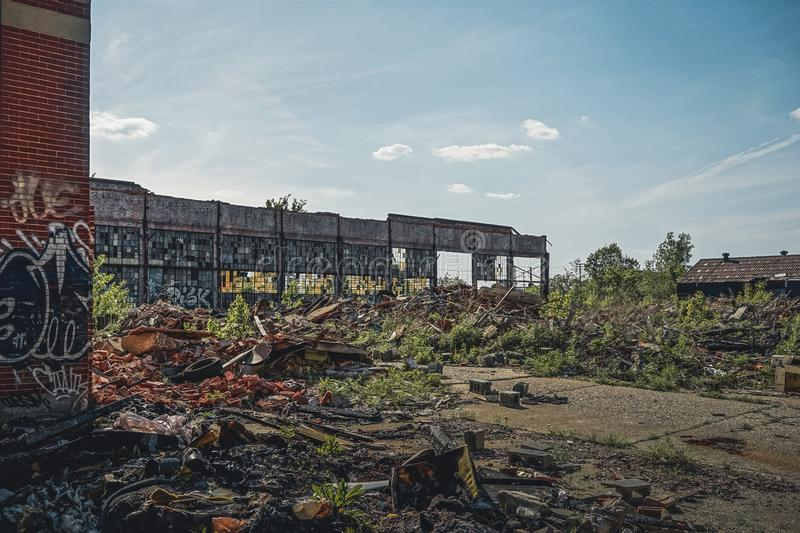 Detroit, Michigan, United States - October 2018: View of the abandoned Packard Automotive Plant in Detroit. The Packard stock photos
