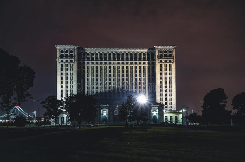 Detroit, Michigan, United States - October 2018: A view of the old Michigan Central Station building in Detroit which stock photography