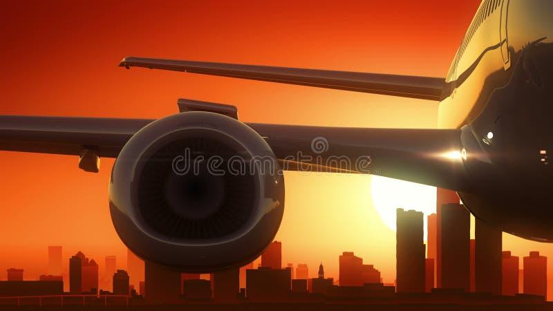 Detroit Michigan USA America Skyline Sunrise Take Off vector illustration