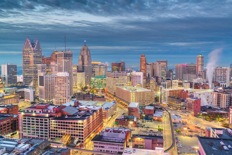 Detroit, Michigan, USA downtown skyline from above royalty free stock photos
