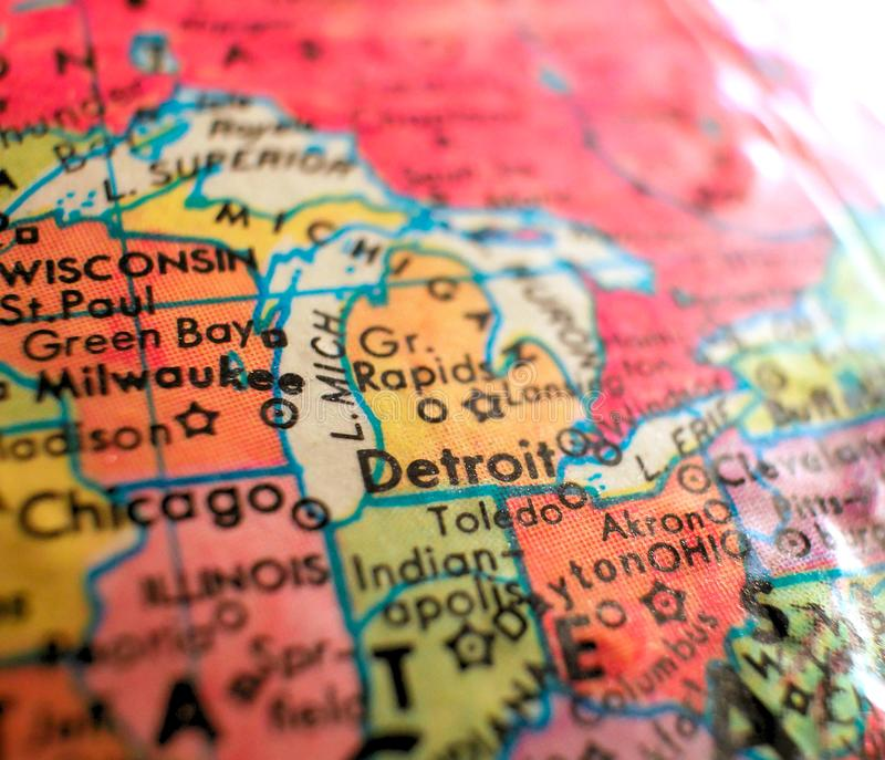Detroit Michigan USA focus macro shot on globe map for travel blogs, social media, web banners and backgrounds. stock photo