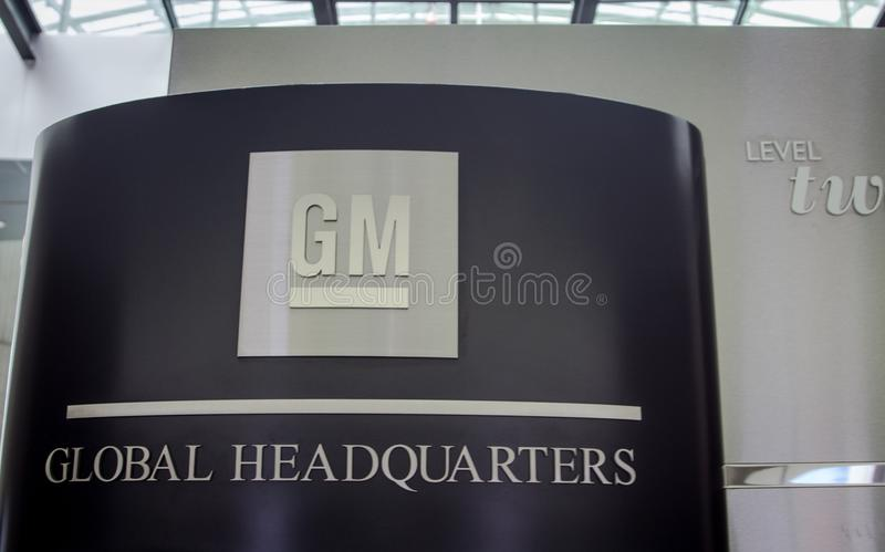 General Motors Global Headquarters Sign And Emblem royalty free stock photos