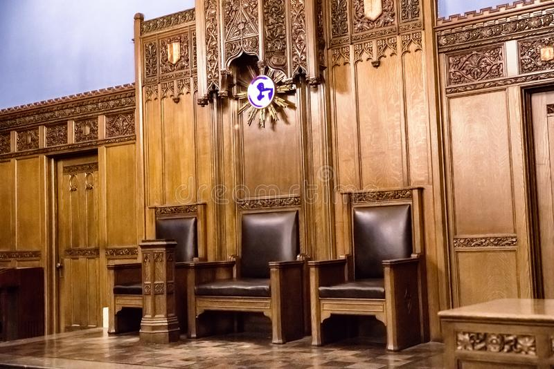 Interior of Detroit Masonic Temple. Detroit, Michigan, USA royalty free stock photo