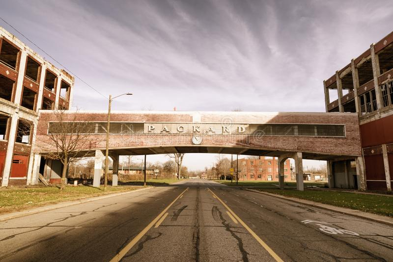 Packard Automotive Plant is a former automobile-manufacturing factory in Detroit, Michigan, USA. Detroit, Michigan, USA - November 23, 2018: The Packard stock photos