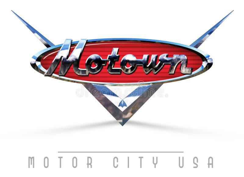 Detroit Motown tecken stock illustrationer