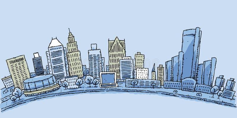 Detroit nabrzeże ilustracji
