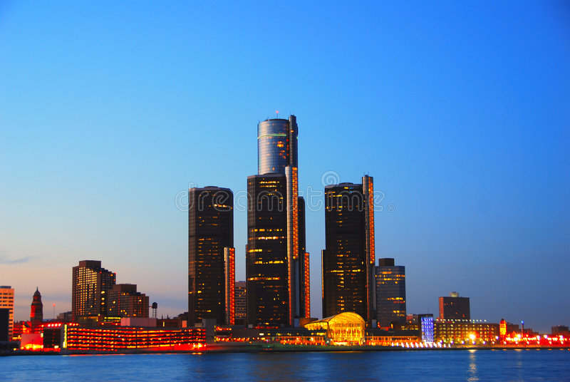 Download Detroit at night stock photo. Image of building, great - 2317942